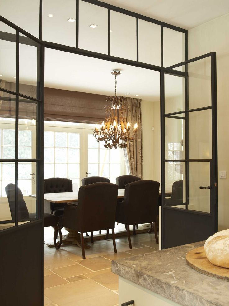 Dining with Black Steel Doors