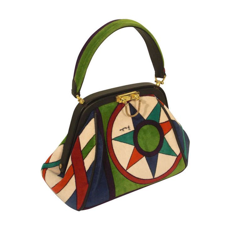 1960s Emilio Pucci Framed Velveteen Purse in Bold Pattern | From a collection of rare vintage handbags and purses at https://www.1stdibs.com/fashion/accessories/handbags-purses/