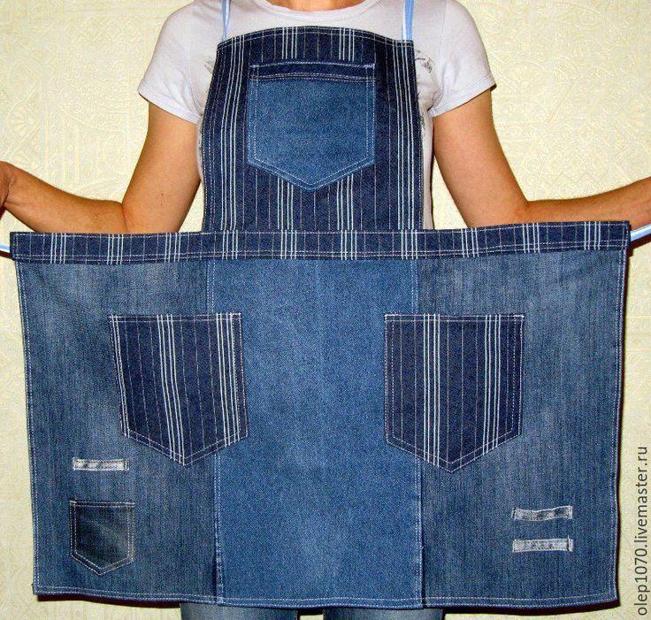Купить Джинсовый фартук для работы в саду - темно-синий, фартук, джинсовый фартук, фартук с карманами