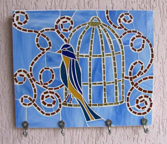 Cabideiro de Mosaico de Vidro