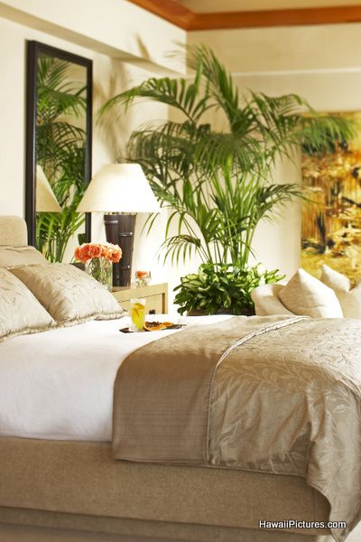 Tropical bedroom - simple, mostly neutrals. since you were married in Hawaii and love to travel to tropical places.