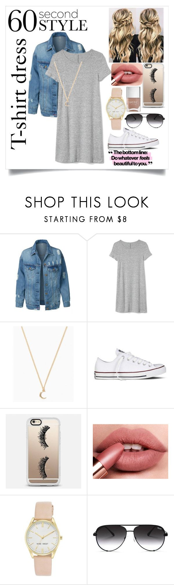 """""""The T-shirt dress"""" by lestringham ❤ liked on Polyvore featuring LE3NO, Gap, Converse, Casetify, Nine West, Quay, Nails Inc., tshirtdresses and 60secondstyle"""