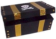 Preschool - pirate chest  You need:    Shoe Box with Attached Lid  Black Paint & Brush  Embossing Foil  Paper Fasteners  Skull Printable  Glue & Scissors