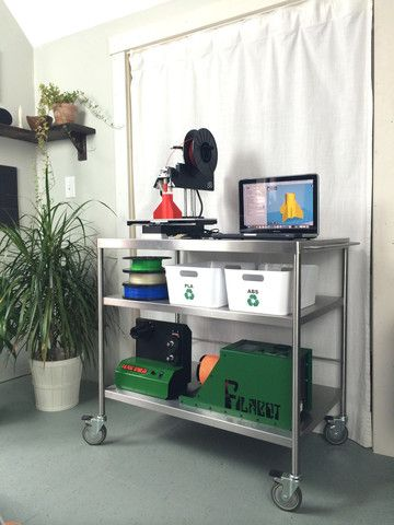 Using a 3D printer cart helps keep it close when needed and away when a bit of distance is best. A 3d printer cart will also help keep it all organized.
