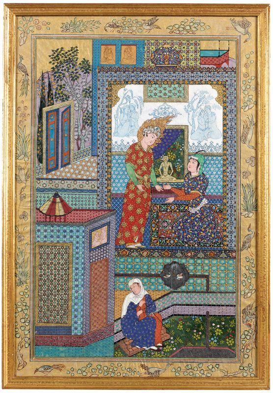 Attribuée à Hoseyn Behzad (1894-1968)  La rencontre de Yusuf et Zulaykha  Aquarelle et or sur papier  La scène ici représentée est celle de la rencontre de Yusuf et Zulaykha, dans la maison du vizir du Pharaon.  Ce texte dont la version la plus fameuse est attribuée au poète persan Jami (1414-1492) est extrait du Haft haurang.  Iran. Vers 1920  Hauteur: 47 cm - Largeur: 33 cm    Provenance: Ancienne collection privée française