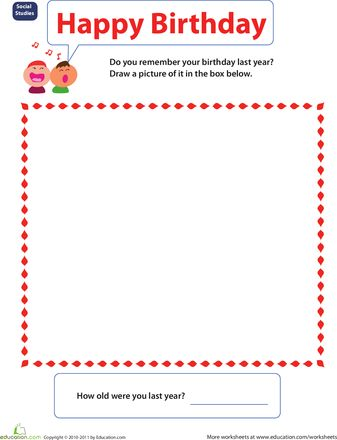 Social Studies Kindergarten Worksheets: My Heritage and Cultural Background-- Events: Birthday