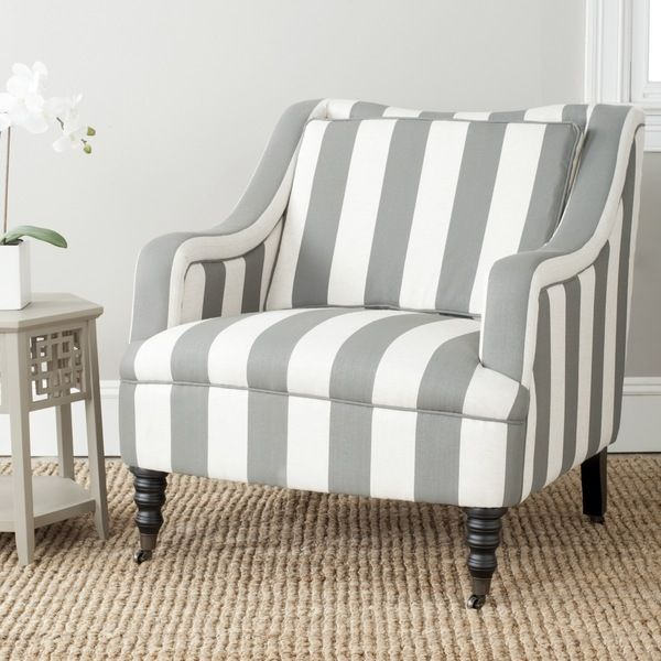 Safavieh Homer Greyish Blue/ White Stripe Arm Chair - Overstock™ Shopping - Great Deals on Safavieh Living Room Chairs