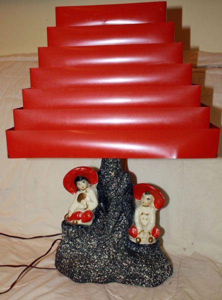 1950s Asian Figurine Chalkware Lamp with Venetian Blind Shade