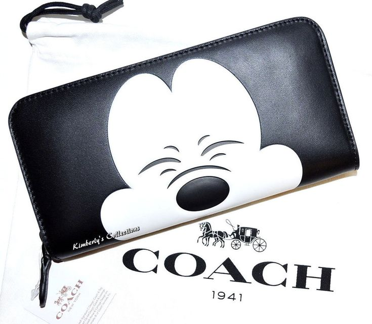 COACH X Disney Mickey Mouse LIMITED EDITION Collectors Black Leather Wallet NWT #Coach #ZipAroundClutch