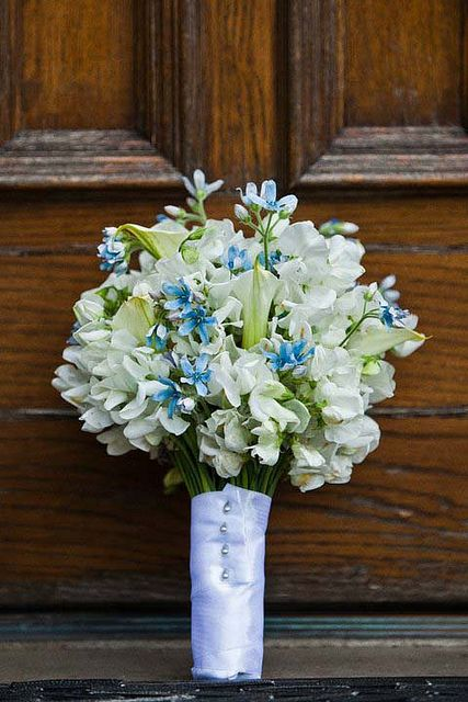 The bridesmaids will carry bouquets of white hydrangeas, blue tweedia, fresh lavender and hints of seasonal greenery wrapped in tiffany blue ribbon with the stems showing.