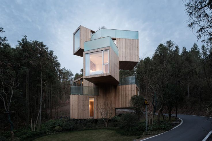 Spectacular Mountain Tree House Encrusted in a Red Cedar Tree Forest