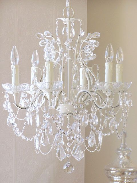 Exquisite Rose 6 Light Leafy Antique White Crystal Chandelier http://www.thebellacottage.com/product_details.php?pid=7491=10