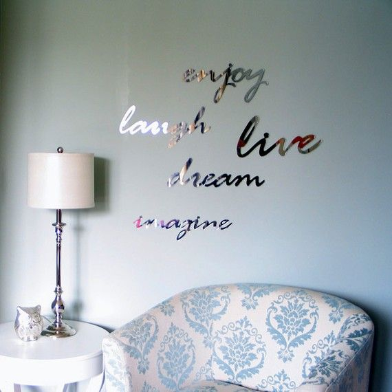Mirror Wall Art Word Sign 'Laugh'  wall decor by StudioLiscious, $22.00 So gorgeous!