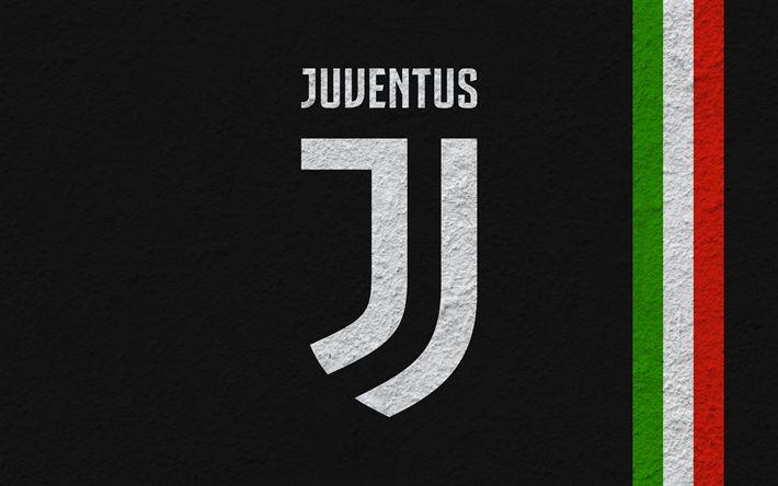 Descargar fondos de pantalla La Juventus, el fútbol, el nuevo Juventus emblema, logotipo, Serie a, Italia, 2017 logotipo de la Juventus, textura de la Pared