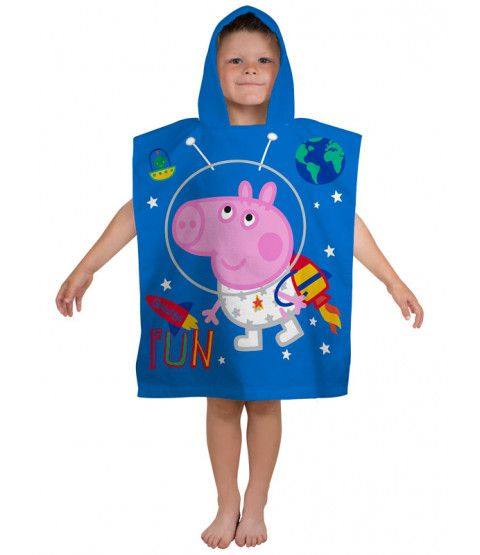 Peppa Pig George Planets Hooded Towel Poncho allows your little one to get warm, get dry and get changed wherever they are! Free UK delivery available