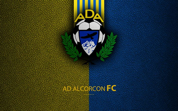 Download wallpapers AD Alcorcon, 4k, Spanish Football Club, leather texture, logo, LaLiga2, Segunda Division, Alcorc?n, Spain, Second Division, football