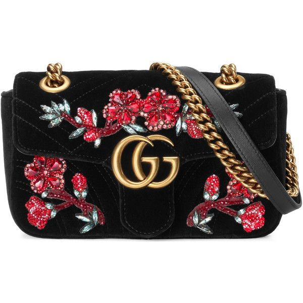 Gucci Gg Marmont Embroidered Velvet Mini Bag found on Polyvore featuring bags, handbags, black, floral handbags, velvet purse, sequin purse, oversized purses and flower print handbags