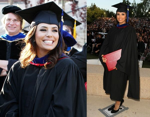 Eva Longoria in Casadei pumps during her graduation from California State University with a master's degree in Chicano Studies on May 22, 2013
