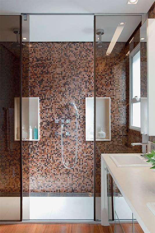 cerâmica pastilhada no banheiro #dicaserraforte #NaSerraForteTem #pastilha  #marrom