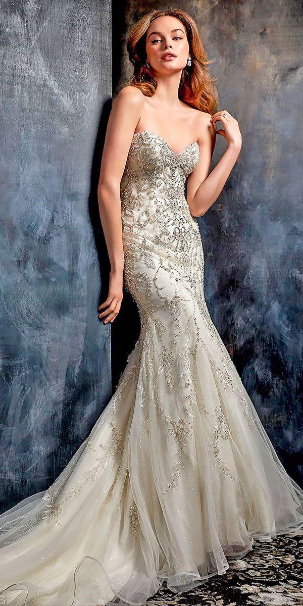 mermaid wedding dresses strapless sweetheart neck beaded bodice kenneth winston
