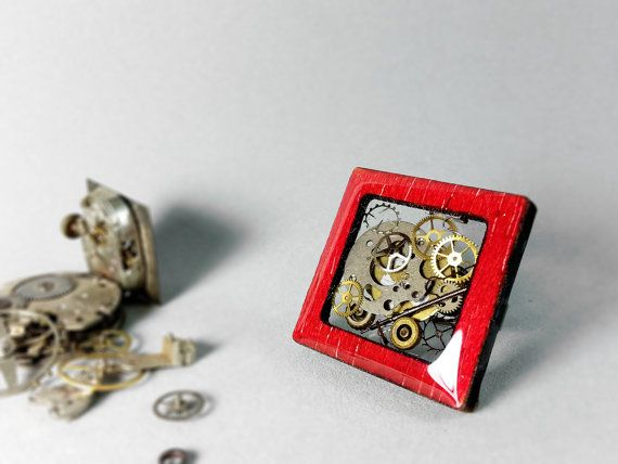 Red wood steampunk ring Wooden ring Resin steampunk by ByEmilyRay