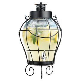 """Lantern-style beverage dispenser with scrolling legs.Product: Beverage dispenserConstruction Material: Glass, plastic and metalColor: Clear and charcoalFeatures:  For use with cold beverages onlyMay also be used as an outdoor lantern  Dimensions: 18.7"""" H x 10.8"""" Diameter"""