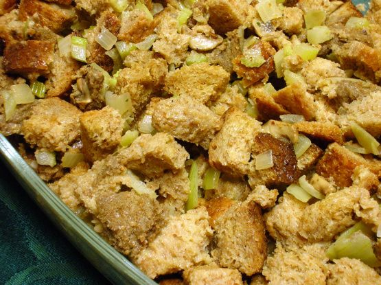 Try this tasty, easy-to-make turkey stuffing recipe from Food.com for a side thats sure to be an instant classic.