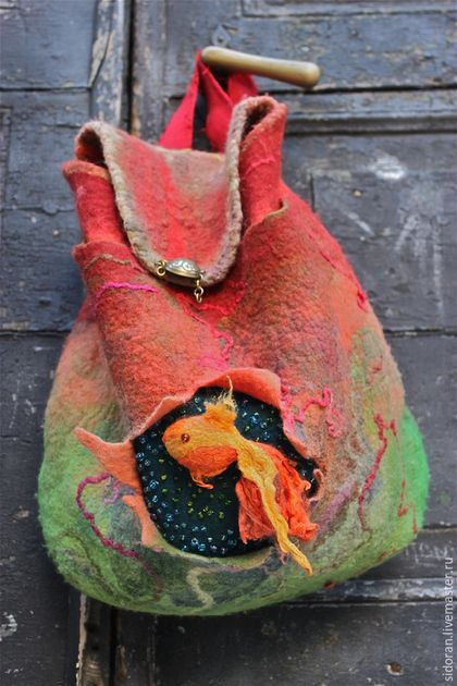 Рюкзаки ручной работы. Ярмарка Мастеров - ручная работа. Купить Красное море. Handmade. Ярко-красный, Валяние, ручная работа