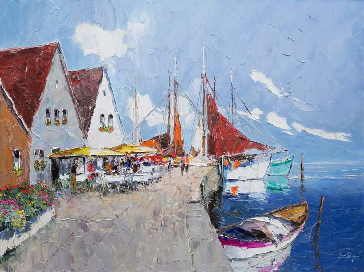 Harbour Cafe, original painting by Erich Paulsen (48 x 36 inches)