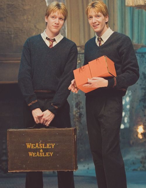 Fred Weasley(Left), George Weasley( Harry Potter Film Series) played by James Phelps(Left) and Oliver Phelps.