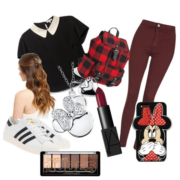 Back to school!!! by lollypopmy on Polyvore featuring polyvore, fashion, style, Topshop, adidas Originals, Aéropostale, Disney, Forever 21 and NARS Cosmetics