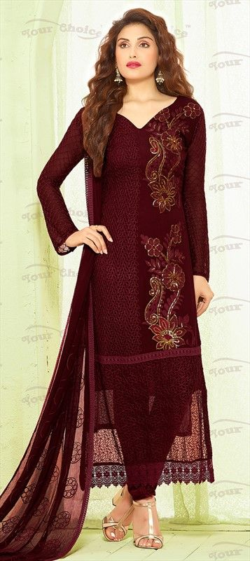 459532 Red and Maroon  color family Party Wear Salwar Kameez in Chiffon fabric…