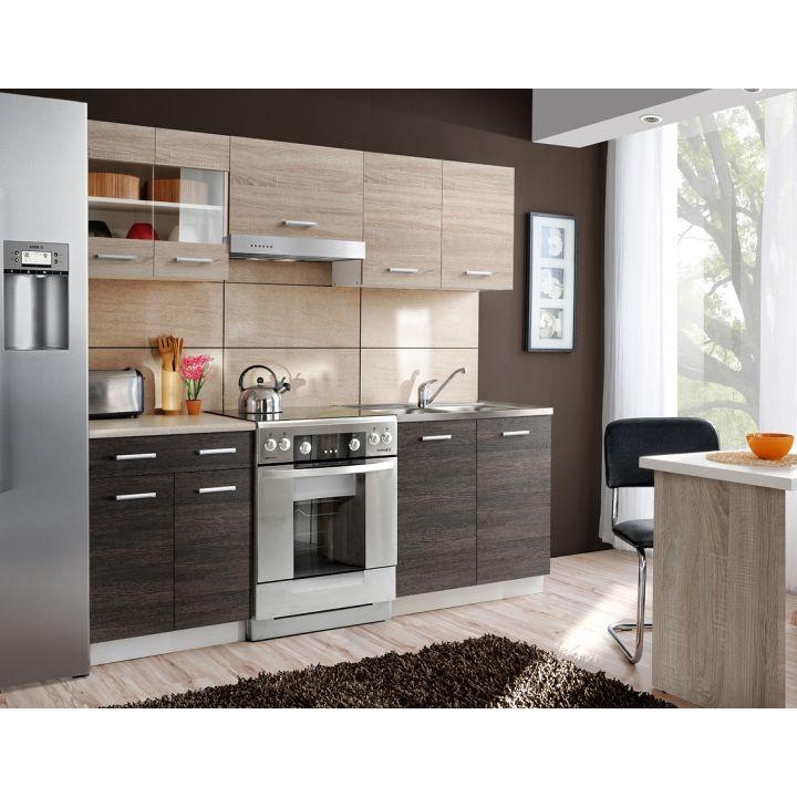 Kuchyne - ucelené bloky : Kuchynská linka, dub sonoma/dub tmavý, ADAMO-LARA 2 m