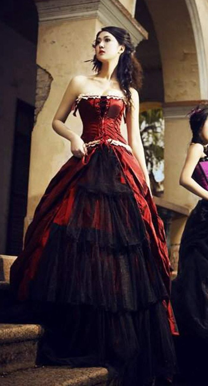 Find more dresses information about gothic vintage red and black