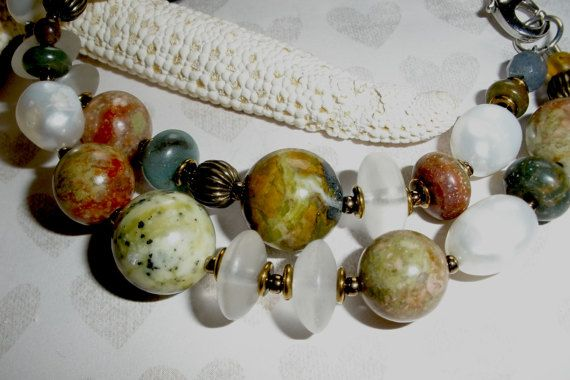 CHUNKY PEARL GEMSTONE Two Strand Bracelet Handcrafted Chunky