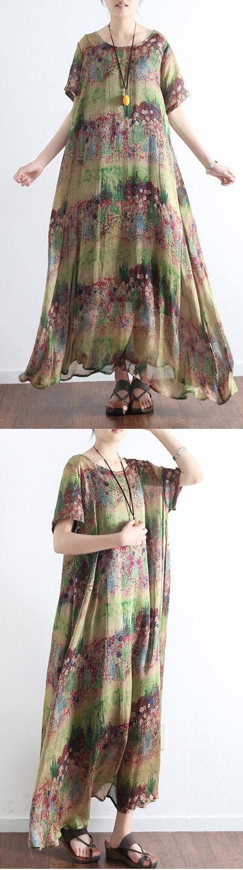 2017 green print silk dresses casual plus size maxi dress short sleeve large hem