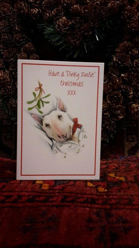 Cartoline di Natale di Bull Terrier inglese di ShirelleYoungArt