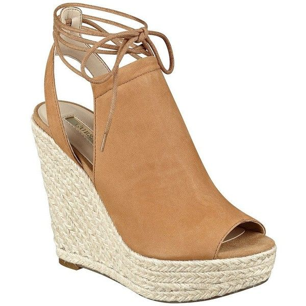 Guess Orristi Espadrille Wedge Leather Sandals ($125) ❤ liked on Polyvore featuring shoes, sandals, tan, sports sandals, wedges shoes, lace-up sandals, open toe wedge sandals and wedge sandals