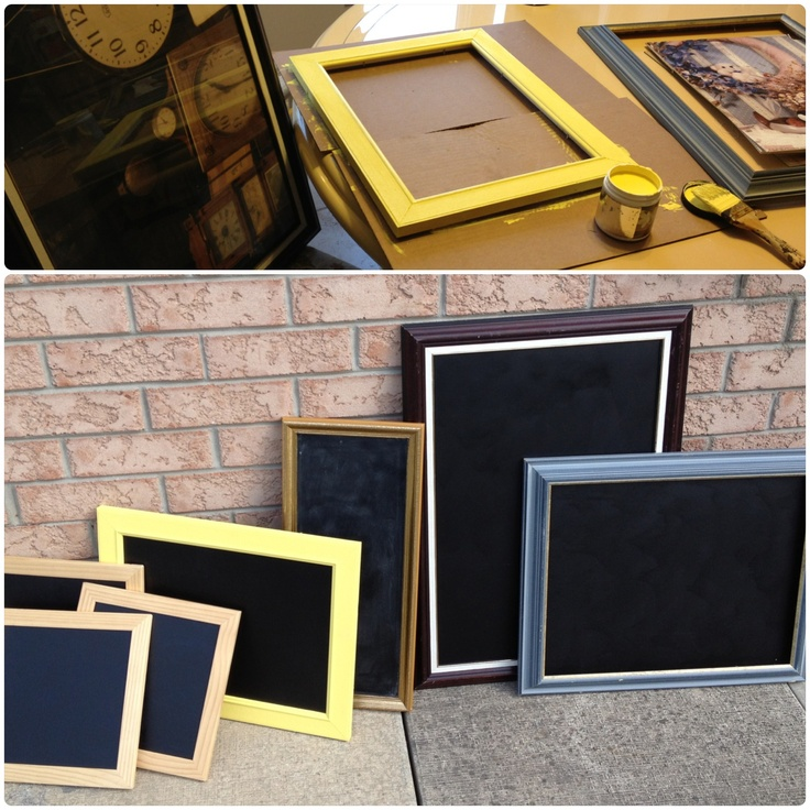 I love thrift store photo frame hunting. Makes for fun chalkboard galore project. Wedding season here we come!!!