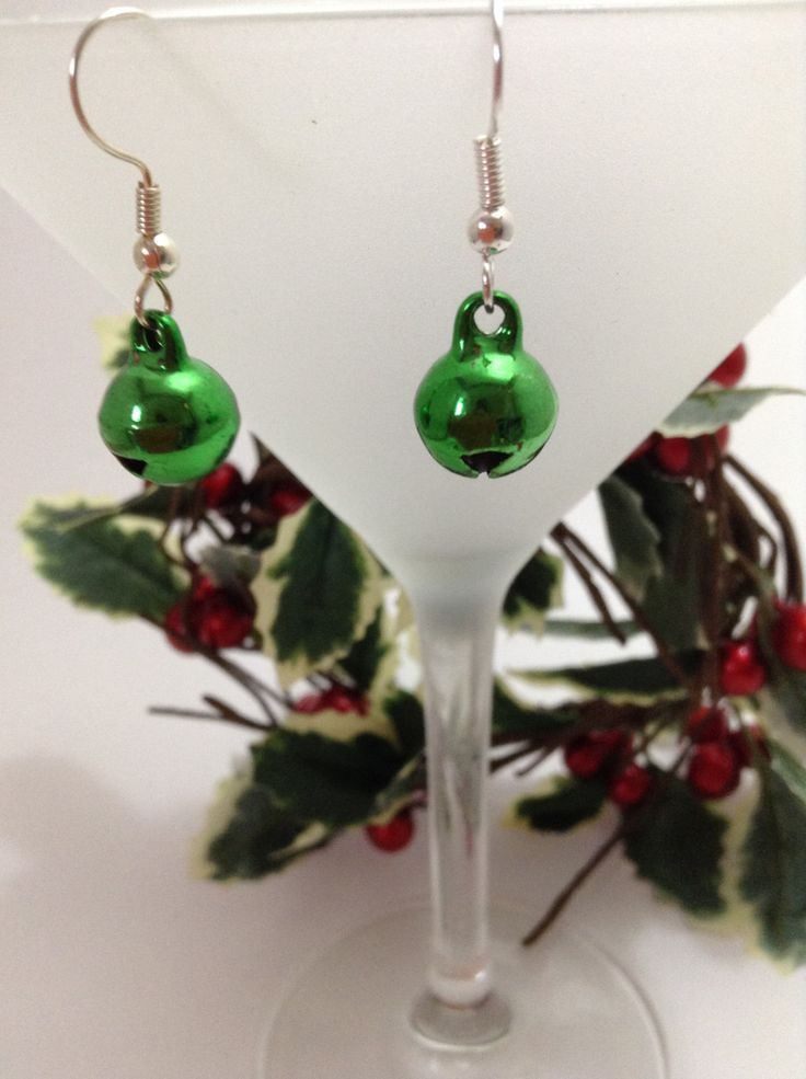 Little green jingle bell earrings - ideal for Christmas parties by NJscollection on Etsy