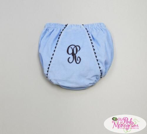 Monogrammed Child's Corduroy Diaper Cover Blue with Brown Trim  Apparel & Accessories > Clothing > Baby & Toddler Clothing > Baby & Toddler Diaper Covers