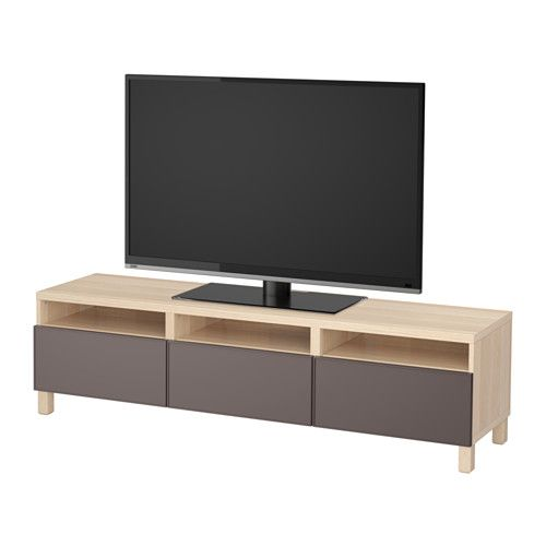 BESTÅ Tv-bänk med lådor IKEA Lådorna och dörrarna är mjukstängande, så du kan stänga dem tyst utan att slamra, väsnas eller väcka andra på morgonen.