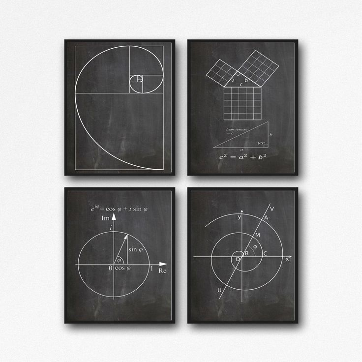Math Poster Set of Math Posters Fibonacci Golden Spiral Pythagoras's Theorem Euler's Formula Archimedean Spiral Math Wall Art WB210 by WallBuddy on Etsy