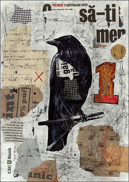 SALE  Fine Art  PRINT- Abstract Mixed media collage By Mirel Raven M. E.Ologeanu