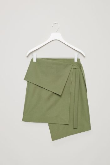 COS image 2 of Textured cotton wrap-over skirt in Khaki Green