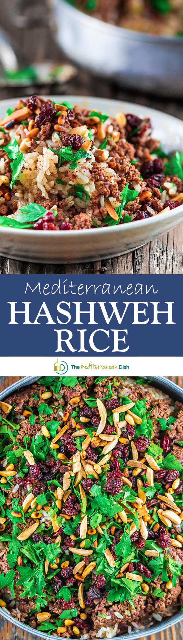 Mediterranean Hashweh Rice (Ground Beef and Rice) | The Mediterranean Dish. Spiced ground beef and rice with nuts and raisins. Exceptional rice pilaf; you will want seconds!