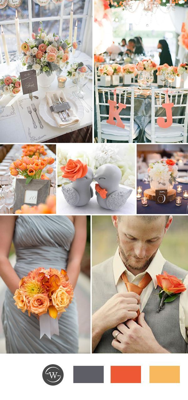Orange And Grey Wedding Color Combos For Spring Wedding