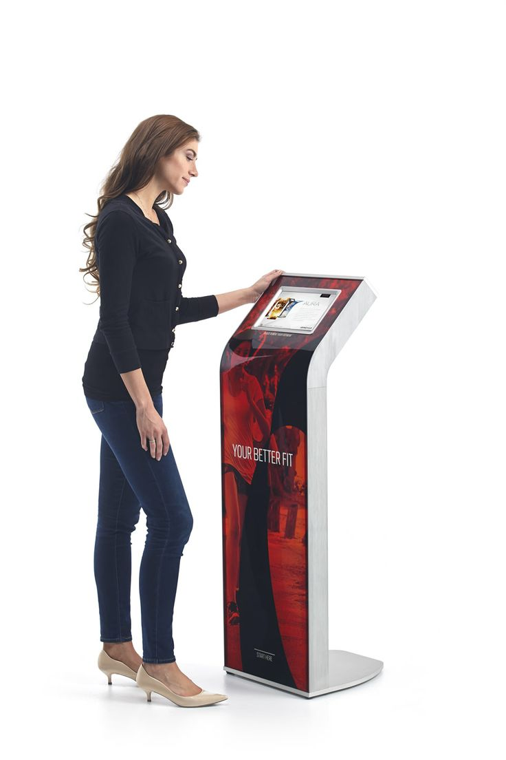 AURA by Armodilo | Tablet Kiosk with magnetic & removable back-lit graphic panels