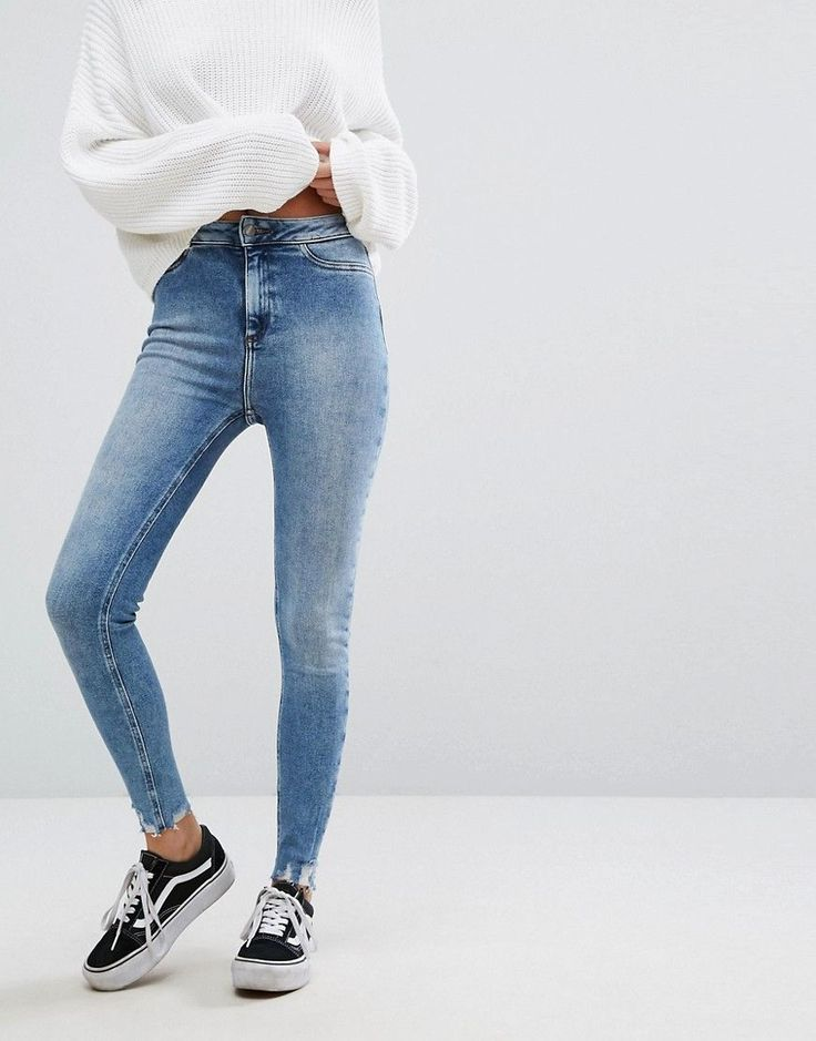 NEW LOOK SKINNY FRAYED JEANS - BLUE. #newlook #cloth #