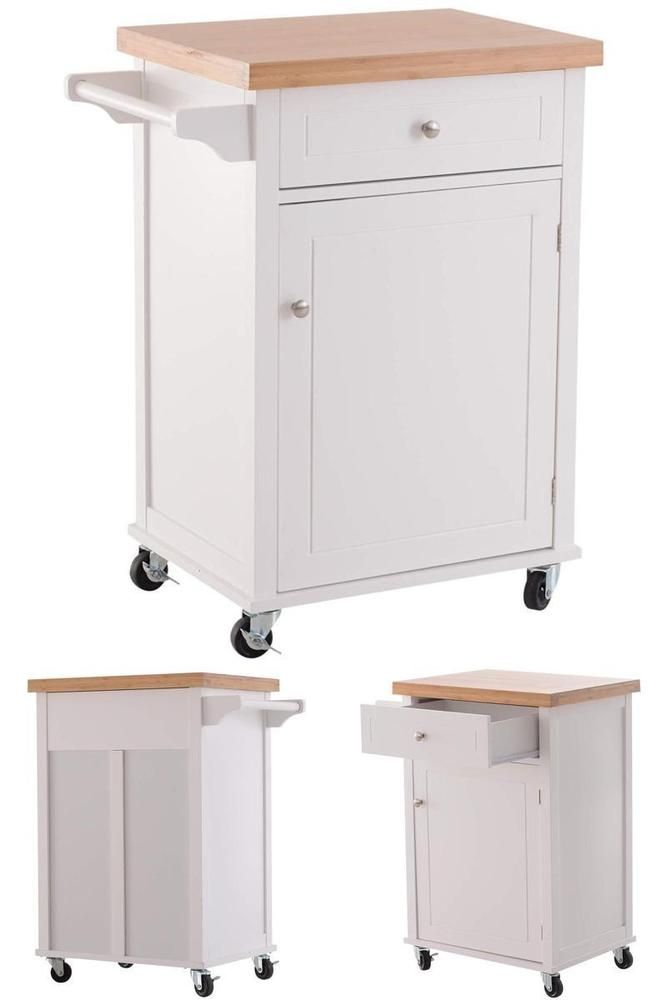 White Wooden Rolling Cabinet Kitchen Storage Cart Trolley